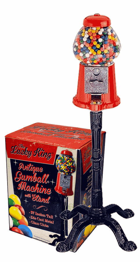 Lucky King Antique  Gumball Machine with Stand