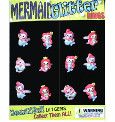 "Mermaid Glitter Rings 1"" Toy Capsules 250pcs"