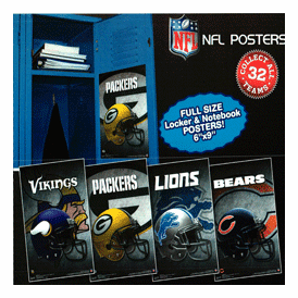 """NFL 6X9 Team  Posters 2"""" Toy Capsules 250 pcs"""
