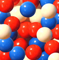 "Red White & Blue 1"" Gumballs 850ct"