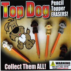 "Top Dog Pencil Topper Erasers 2"" Toy Capsules 250 pcs"