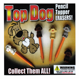 """Top Dog Pencil Topper Erasers 2"""" Toy Capsules 250 pcs"""