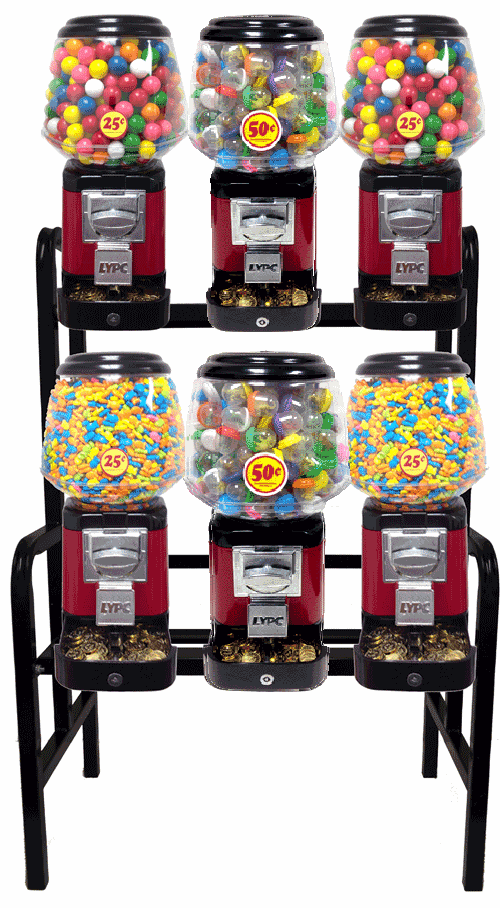Ultra Classic Candy Toy Combo w/ Secure Cash Box 6 Unit Rack