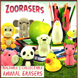 "Zoo Erasers Animals 2"" Toy Capsules 250 pcs"