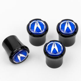 Acura Logo Black Tire Valve Caps - Black - Blue