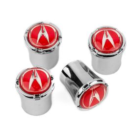 Acura Chrome Valve Stem Caps - Red