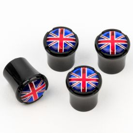 British Flag - Logo Black Tire Valve Caps