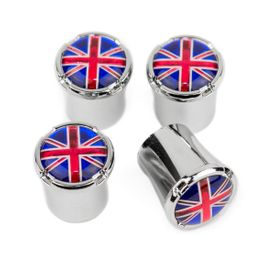 British Flag Chrome Tire Valve Stem Caps