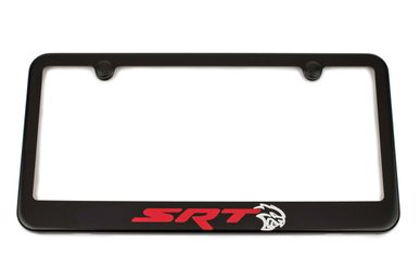 Challenger SRT HellCat License Plate Frame - Satin Black - Red