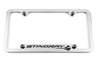 Chevrolet C7 Corvette Stingray Chrome Notched Bottom License Plate Frame - Black
