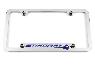 Chevrolet C7 Corvette Stingray Chrome Notched Bottom License Plate Frame - Blue
