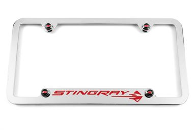 Chevrolet C7 Corvette Stingray Chrome Notched Bottom License Plate Frame - Red