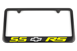 Chevrolet Camaro SS RS Satin Black License Plate Frame - Yellow