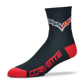 Chevrolet Corvette C7 Socks - Black & Red with Racing Flags Logo