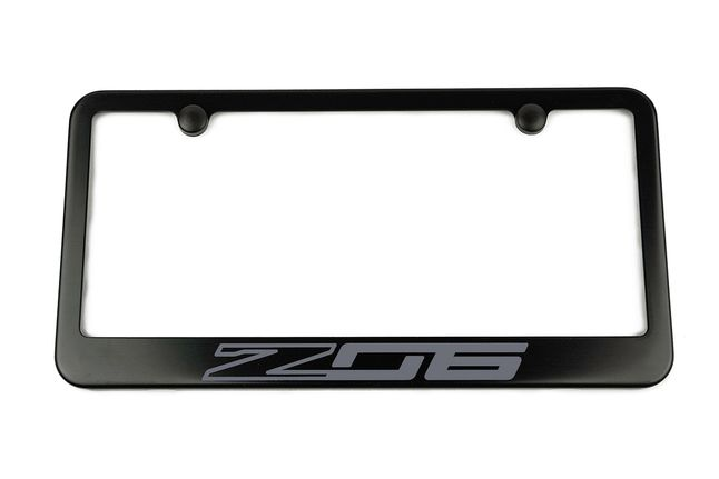 Chevrolet Corvette C7 Z06 Satin-Black License Plate Frame Grey