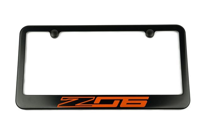 Chevrolet Corvette C7 Z06 Satin-Black License Plate Frame Orange