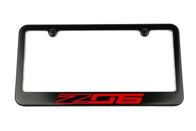 Chevrolet Corvette C7 Z06 Satin-Black License Plate Frame Red