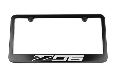 Chevrolet Corvette C7 Z06 Satin-Black License Plate Frame Silver