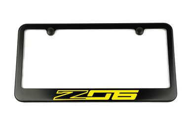 Chevrolet Corvette C7 Z06 Satin-Black License Plate Frame Yellow