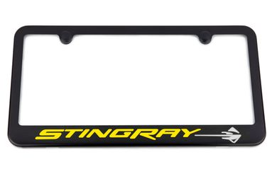 Chevrolet Stingray C7 Satin-Black License Plate Frame Yellow