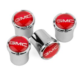 Denali GMC Red Logo Chrome Valve Stem Caps