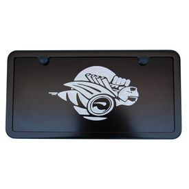 Dodge Ram Rumble Bee Satin Black License Plate Tag - Silver