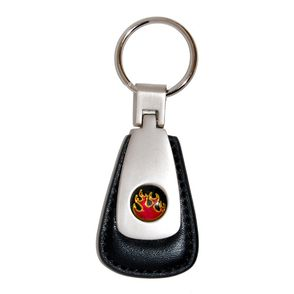Flames Leather Teardrop Fob - Black