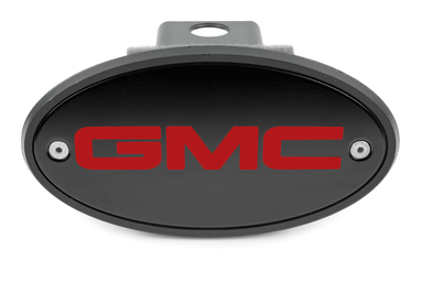 GMC Black Hitch Cover - Red Logo
