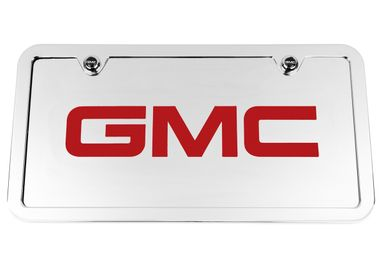 GMC Chrome License Plate Tag and Stainless Steel Frame - Red