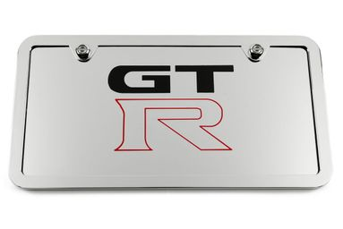 GT-R Chrome License Plate Tag and Stainless Steel Frame
