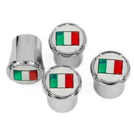 Italian Flag Chrome Tire Valve Stem Caps