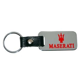 Maserati Chrome Key Chain Fob - Red Logo