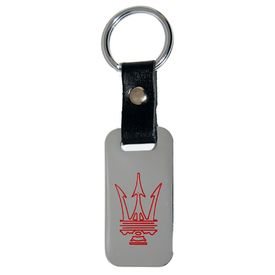Maserati Chrome Leather Strap Key Chain / Fob (Red Logo)