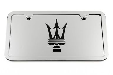 Maserati Chrome License Plate Tag and Stainless Steel Frame