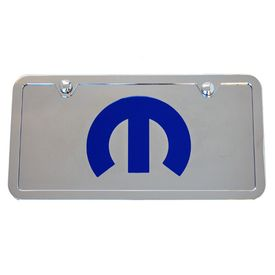 Mopar M Chrome License Plate Tag and Stainless Steel Frame