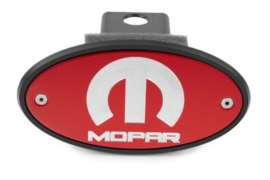 MOPAR Red Hitch Cover - Silver Engraved Logo