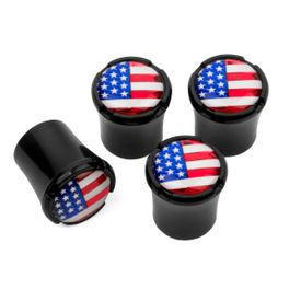 USA Flag - Logo Black Tire Valve Caps