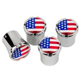 USA Flag Chrome Tire Valve Stem Caps