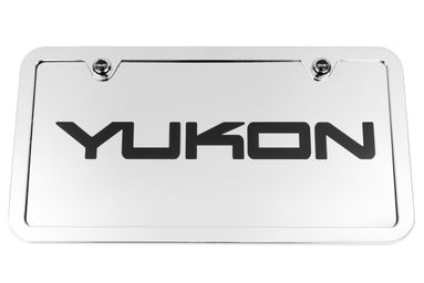 Yukon Chrome License Plate Tag and Stainless Steel Frame - Black