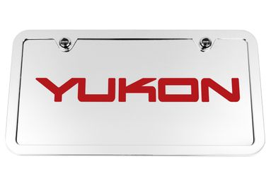 Yukon Chrome License Plate Tag and Stainless Steel Frame - Red