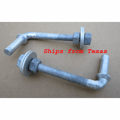 "1/2"" X 4-1/2"" Threaded J Bolt Adjustable Male Post Pin Hinge Chain Link Gate (2)"