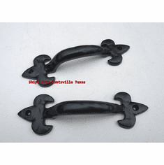 1-Pair Decor Handles Powder Coated Fleur De Lys Style Black Door Handle Drawers