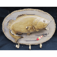Bass & Hooks Fishing Key Cap Towel Holder with Rope Frame Wall Decoration