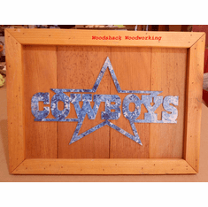 Dallas Cowboys Football Wall Decoration Metal art in Wood Frame Hand painted