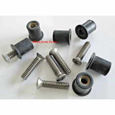 """Roof Rack Machine Stainless Steel Screws & Rubber Well Nuts 1/4""""-20"""
