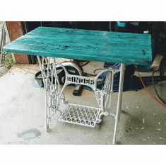 Singer Sewing Machine Custom Made Table Stand Teal Green Color