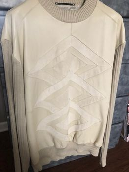 Maxini Ivory Cream Suede Leather Sweater 2XL