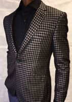 Angelino Black Grey Check Blazer
