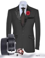 """Close-Out Pricing""-Angelino Black Paisley Tux Trim Blazer"