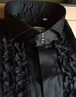 Angelino Black Ruffle Cutaway Collar Shirt. Size 5XL